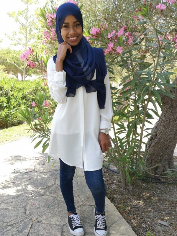 camisa hijabi color blanco