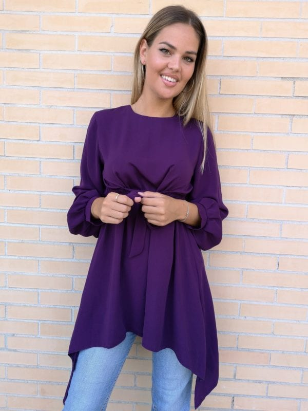 blusa shiffon color morada